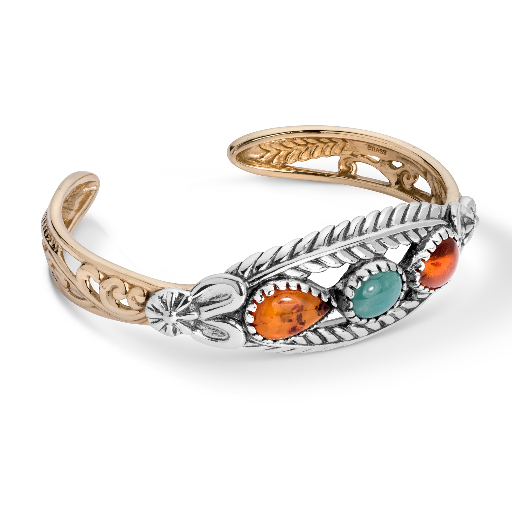 Sterling Silver, Amber, & Green Turquoise Cuff Bracelet