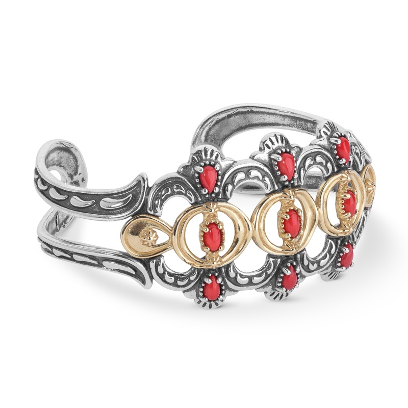 Sterling Silver and Brass Red Coral Gemstone Bold Cuff Bracelet Size S, M or L