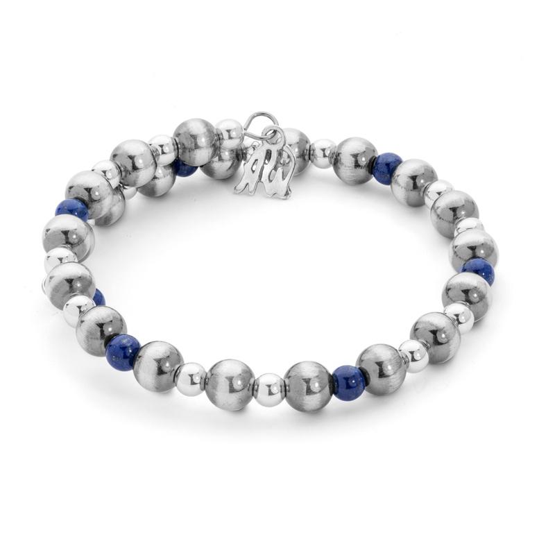 Classics Sterling Lapis Beaded Coil Bracelet