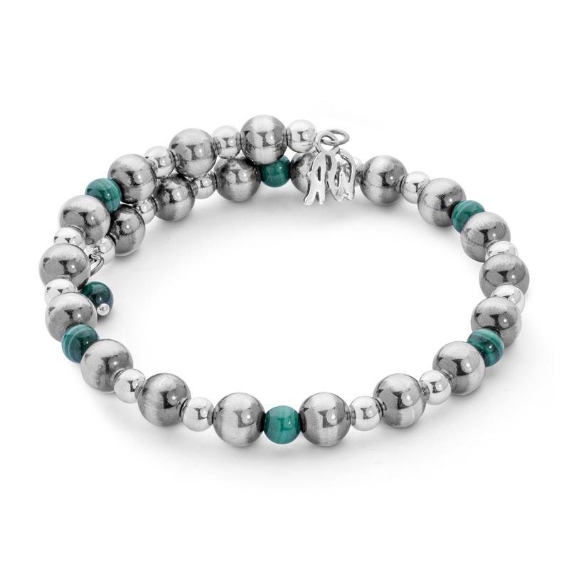 Classics Sterling Malachite Beaded Coil Bracelet
