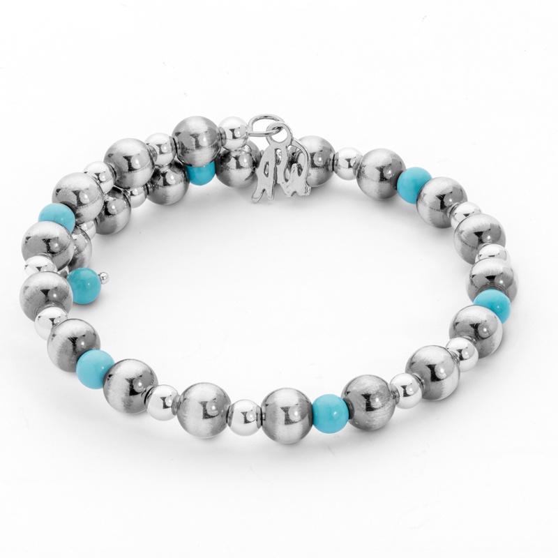Classics Sterling Turquoise Beaded Coil Bracelet