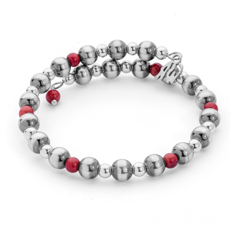 Classics Sterling Red Coral Beaded Coil Bracelet