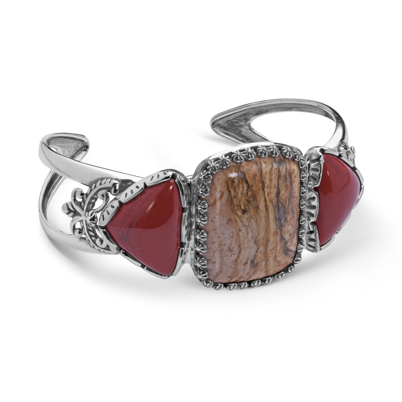 Sterling Silver Red Jasper and Picture Jasper Gemstone Cuff Bracelet Size S, M or L