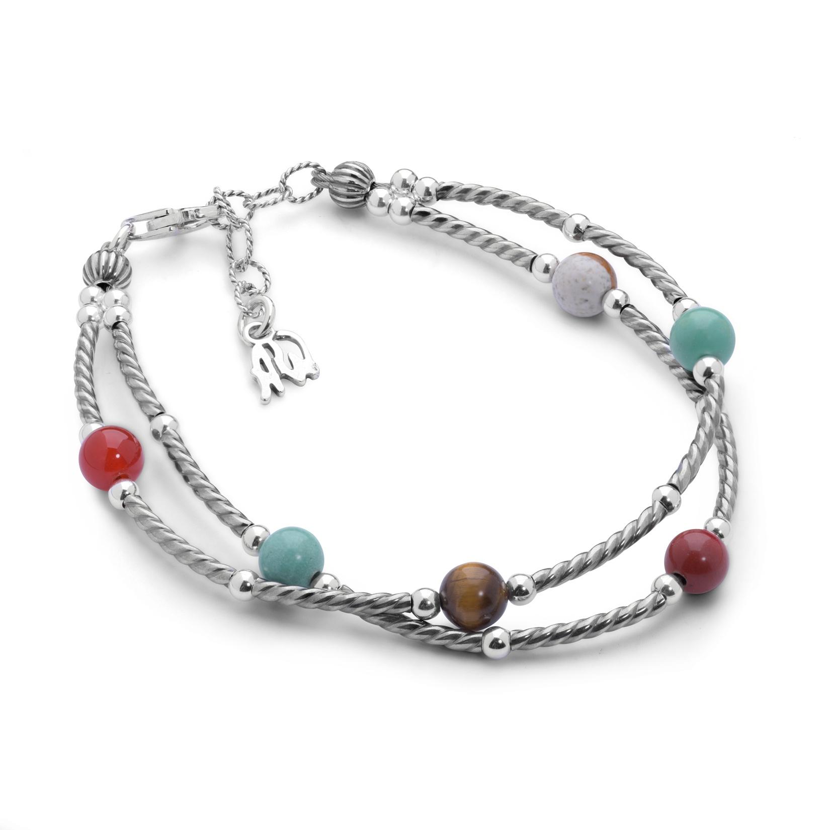 Sterling Silver & Neutral Multi Gemstone Link Bracelet