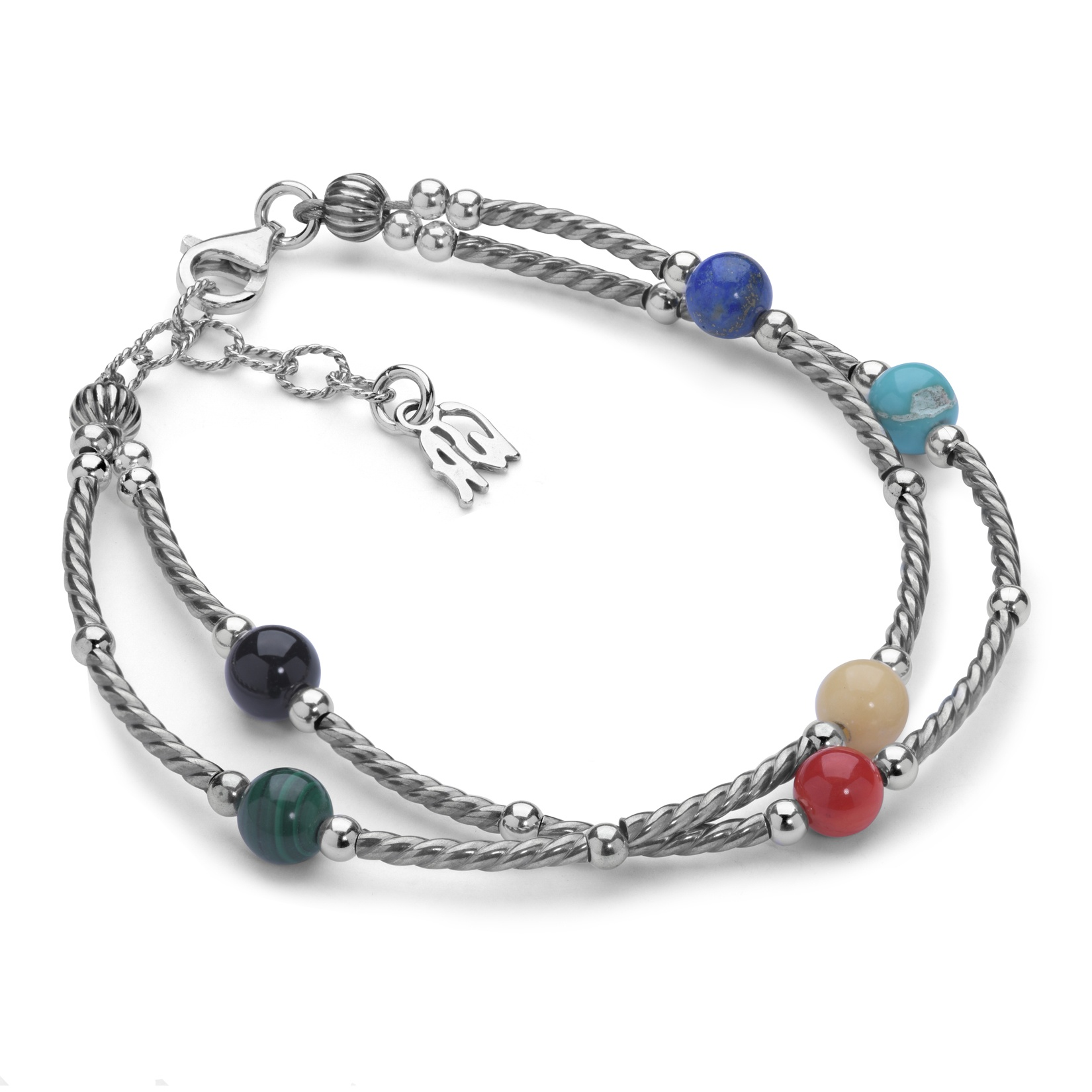 Sterling Silver & Bright Multi Gemstone Link Bracelet