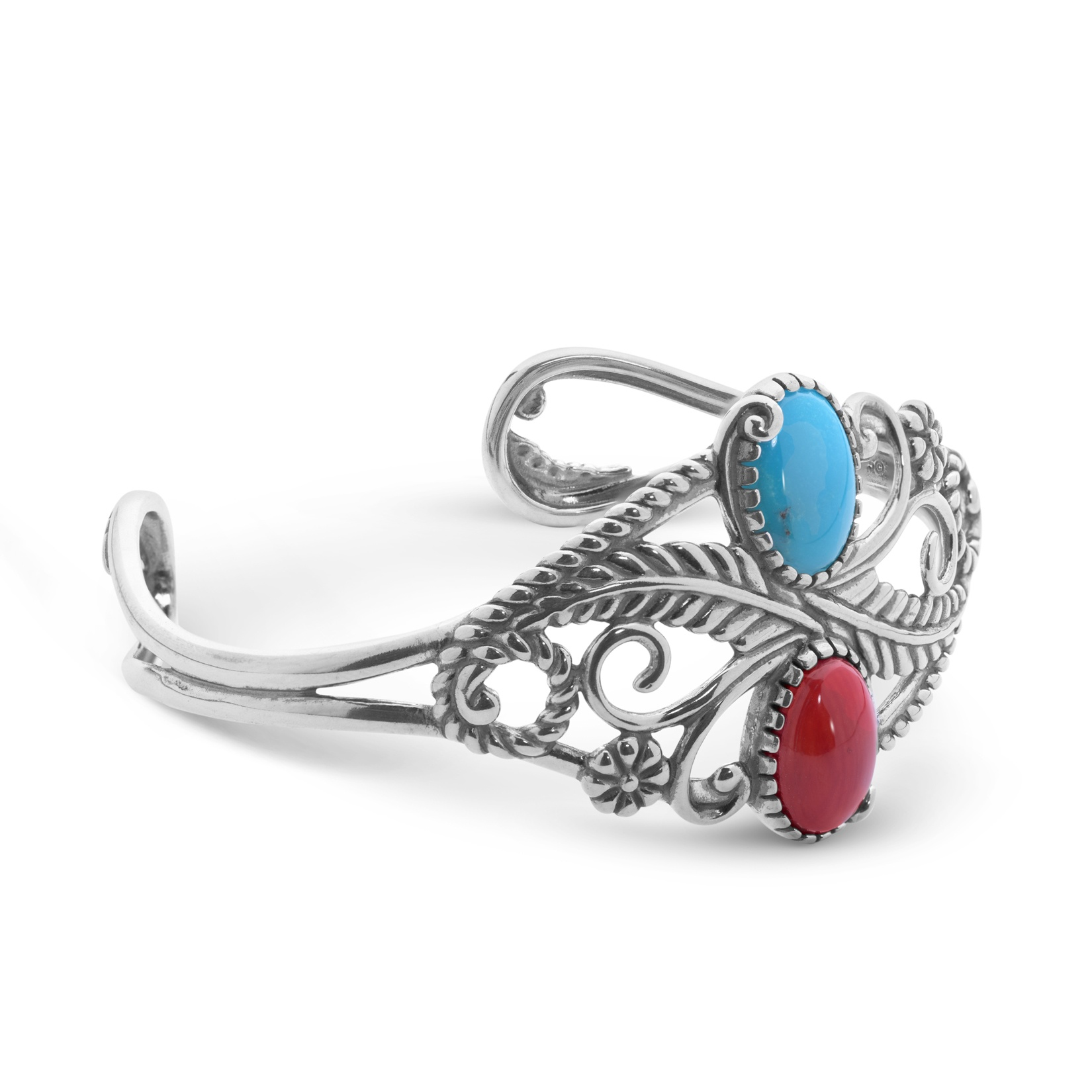 Sterling Silver & Multi Gemstone Cuff Bracelet