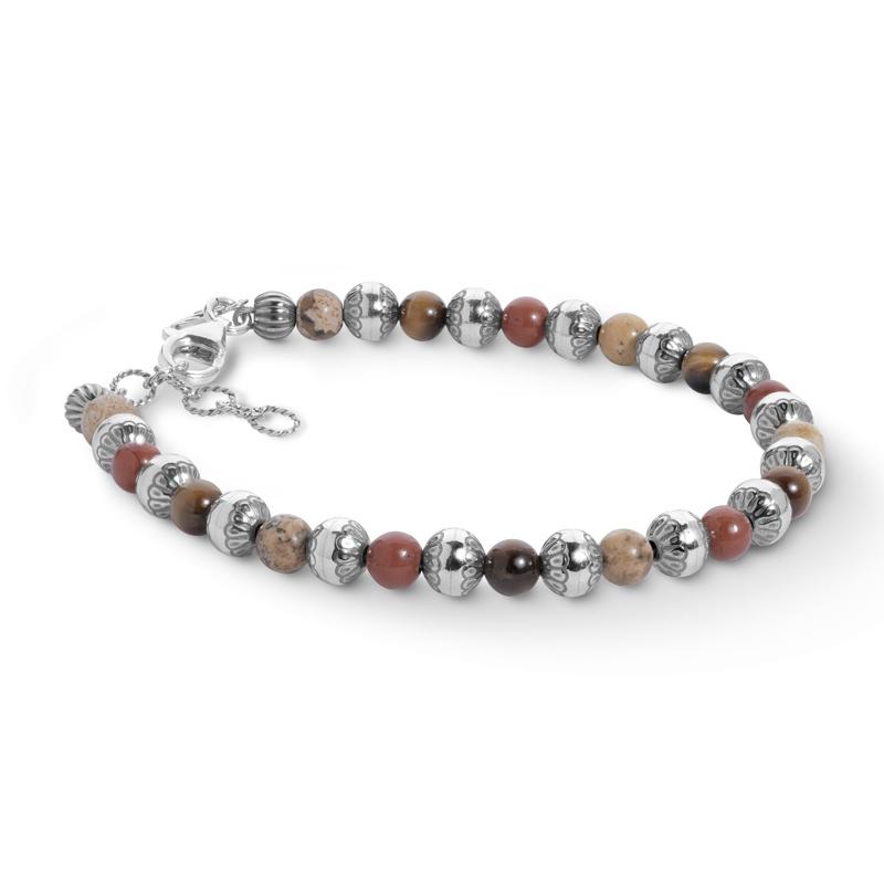 American West Sterling Silver and Multi-Gemstone Beaded Bracelet