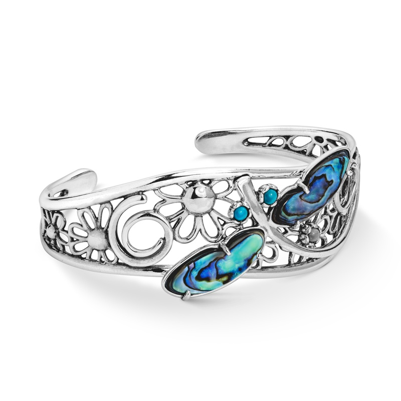 Sterling Silver Fritz Casuse Designed Abalone Turquoise and Variscite Gemstone Dragonfly Cuff Bracelet Size S, A or L