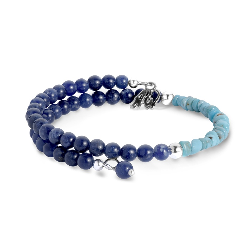 Classics Sterling Sodalite and Turquoise Coil Bracelet