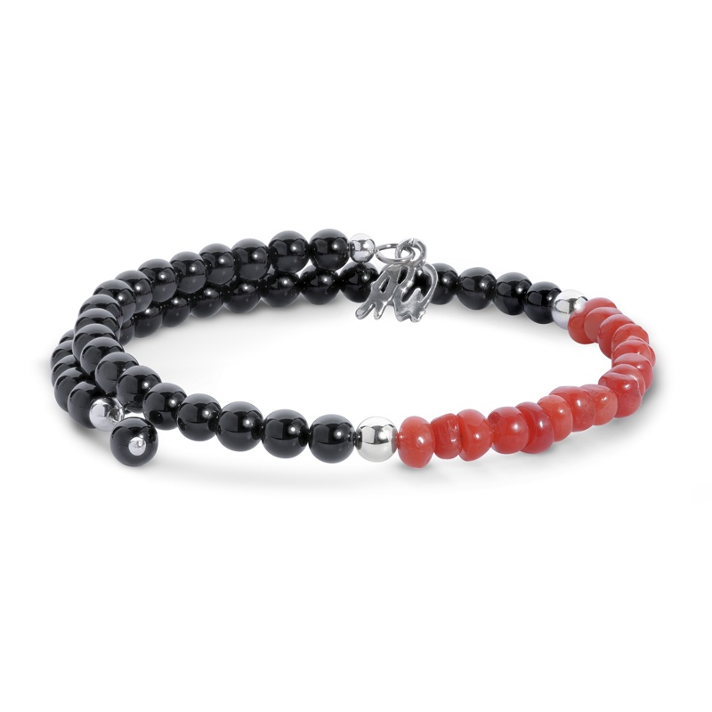 Classics Sterling Black Agate and Red Coral Coil Bracelet