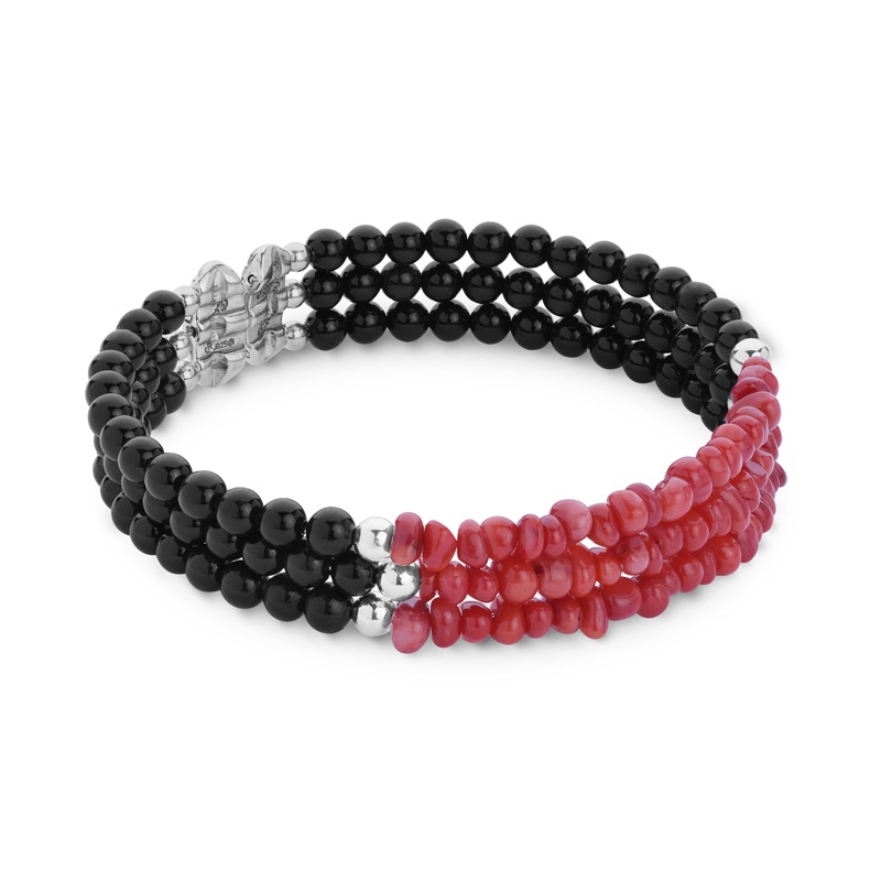 Classics Black Agate and Red Sea Bamboo Three Row Beaded Bracelet