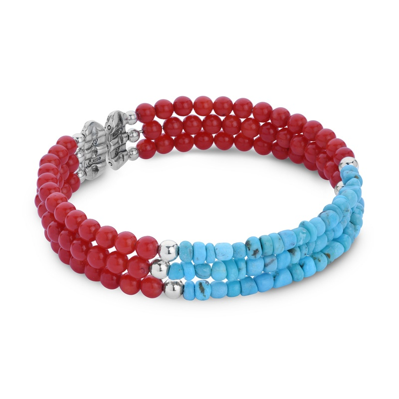 Classics Turquoise and Red Sea Bamboo Three Row Beaded Bracelet