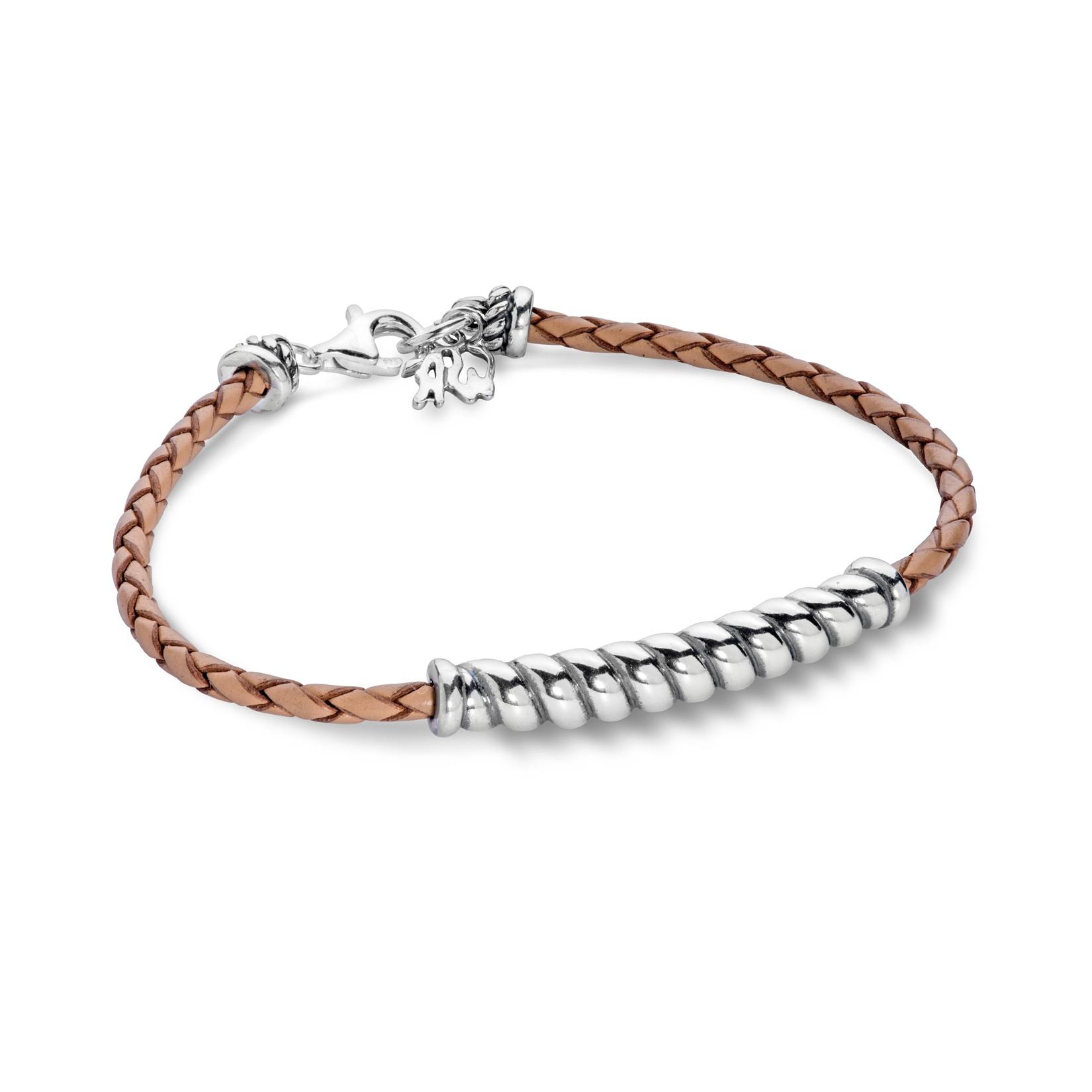 Sterling Silver Braided Rope Bar on Beige Leather Bracelet