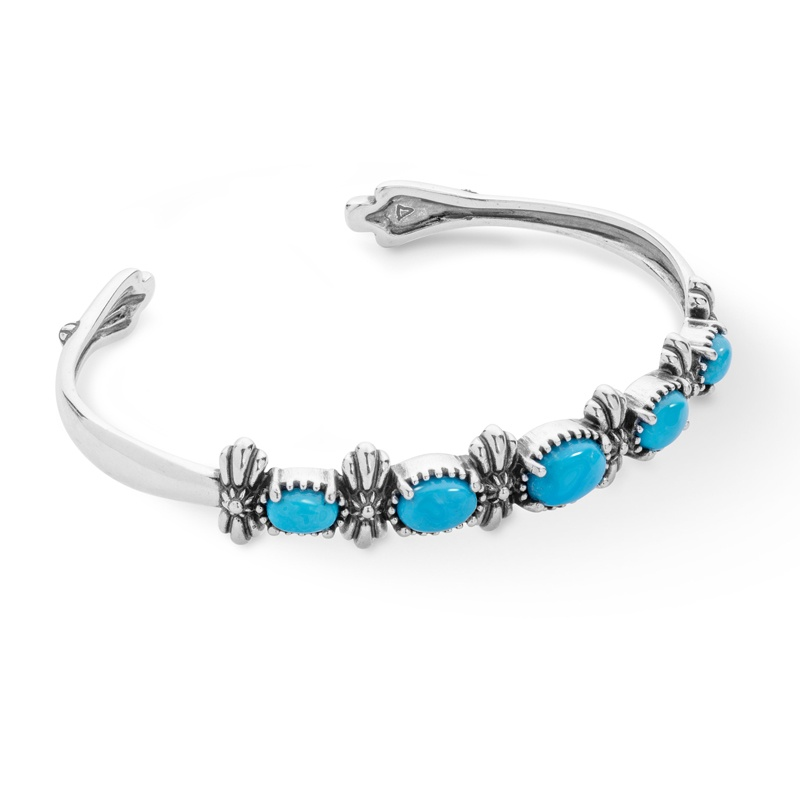 Sterling Silver Blue Turquoise Five Stone Cuff Bracelet Size S, M or L