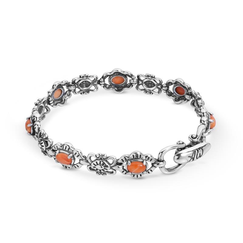 Sterling Silver Orange Spiny Gemstone Concho Link Bracelet Size S, M or L
