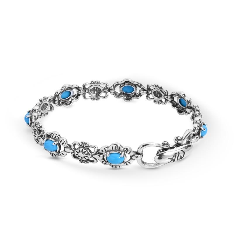 Sterling Silver Blue Turquoise Gemstone Concha Link Bracelet Size S, M or L