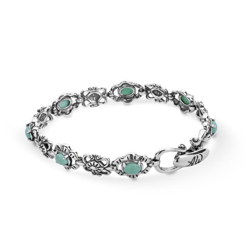 Sterling Silver Green Variscite Gemstone Concha Link Bracelet Size S, M or L