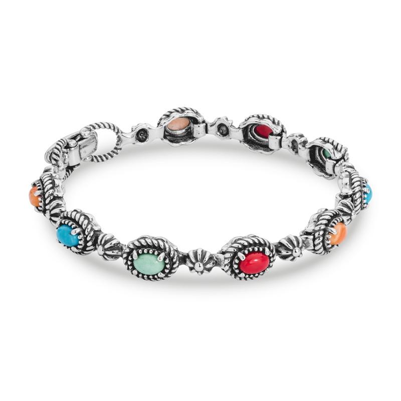 Santa Fe Sunrise Sterling Silver Multicolor Link Bracelet