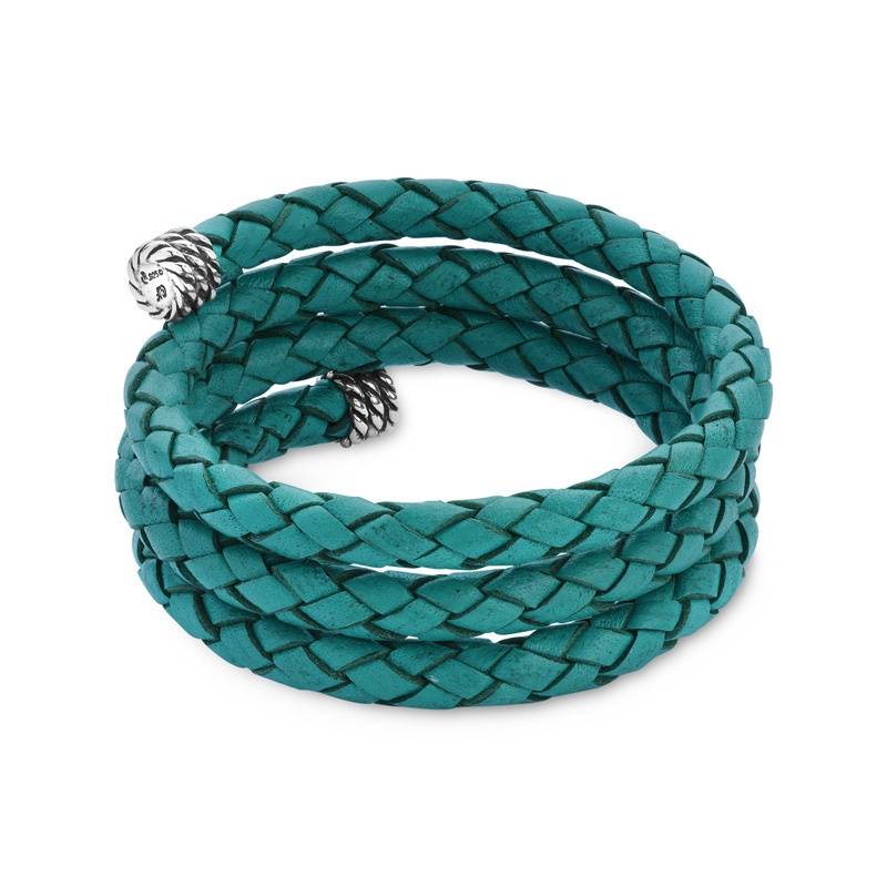 Classics Turquoise Leather Braided Wrap Bracelet