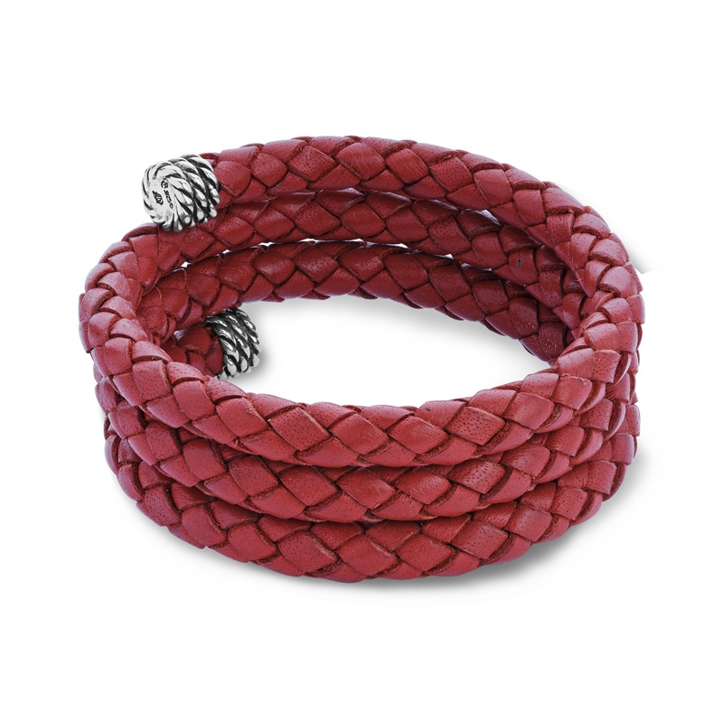 Classics Red Leather Braided Wrap Bracelet