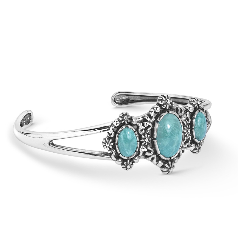 Sterling Silver Three Green Turquoise Oval Gemstone Cuff Bracelet Size S, M or L