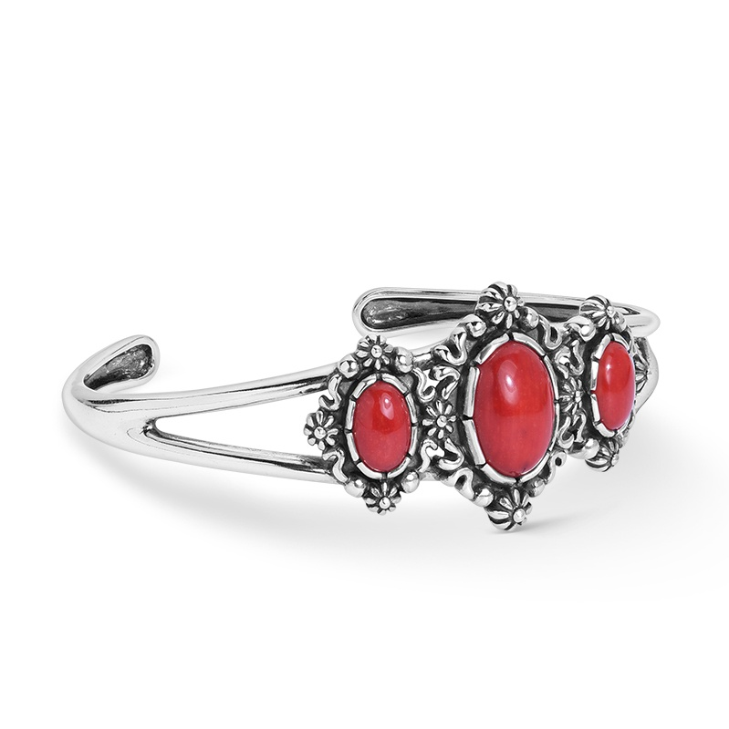 Sterling Silver Three Red Coral Oval Gemstone Cuff Bracelet Size S, M or L