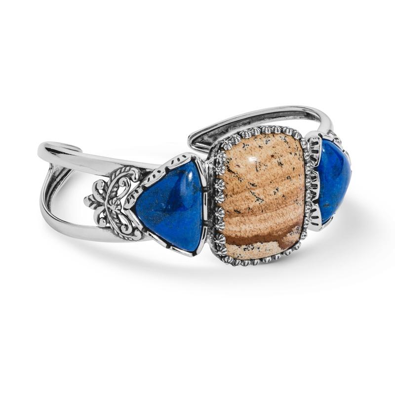 Sterling Picture Jasper and Blue Lapis Gemstone Cuff Bracelet Size S, M or L
