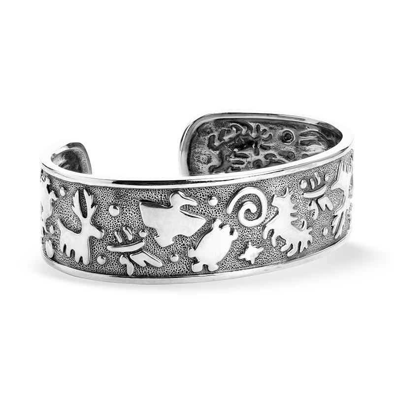 Sterling Silver Jody Naranjo Designed Native American Animal Symbols Cuff Bracelet Size S, M or L