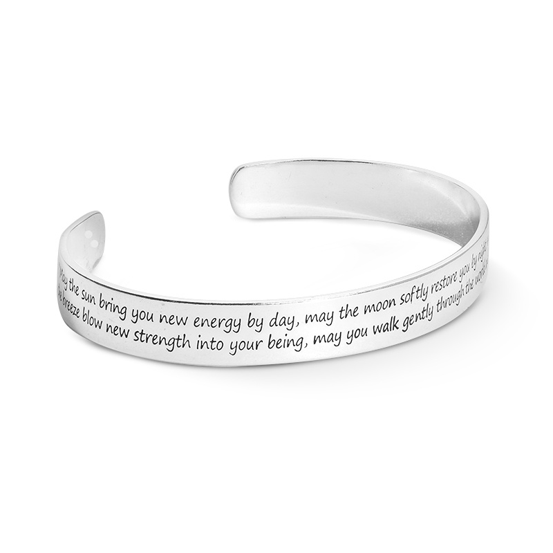 Sterling Silver Sun Moon Engraved Cuff Bracelet Size S, M or L