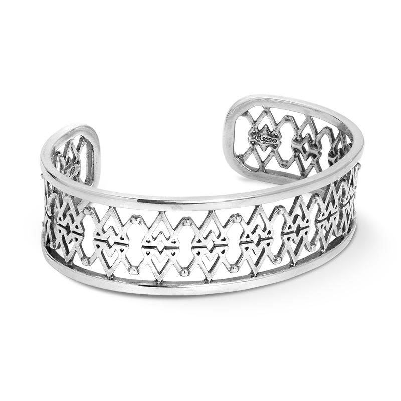 Sterling Silver Brand Logo Cuff Bracelet Size S, M, L or XL