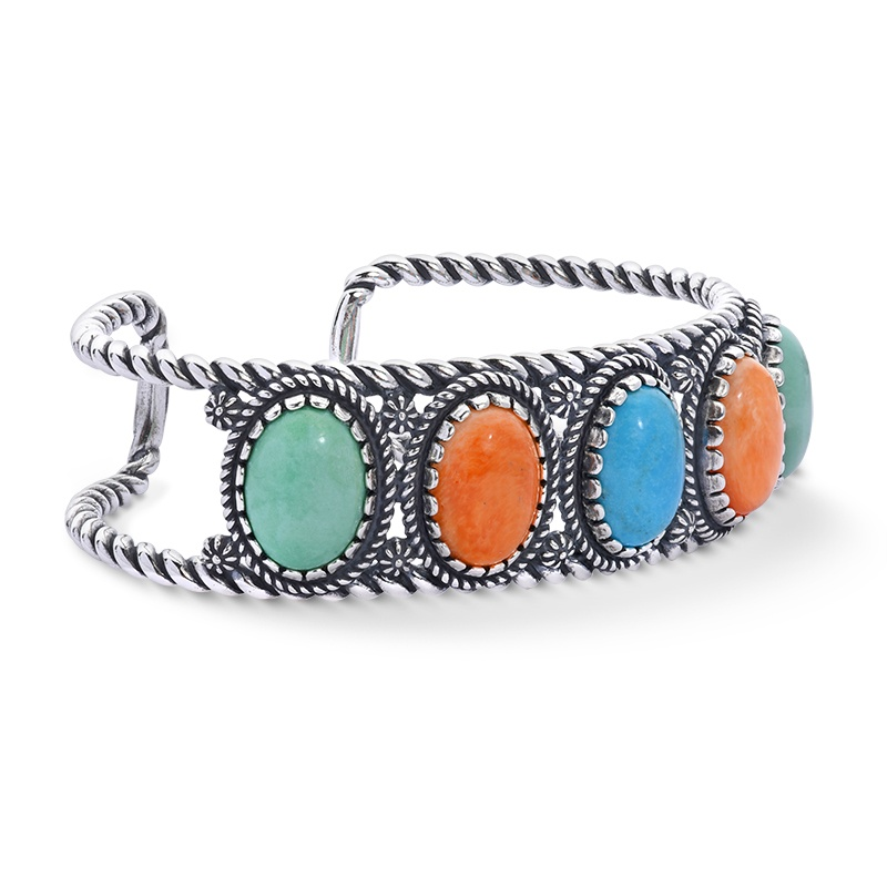 Sterling Silver Green Variscite, Orange Spiny, Turquoise Gemstones 5-Stone Cuff Bracelet Size S, M or L