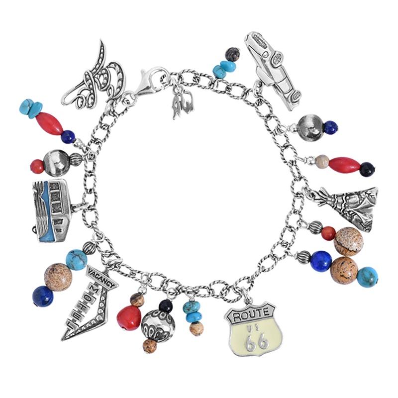 Classics Sterling Silver Route 66 Multicolor Charm Bracelet