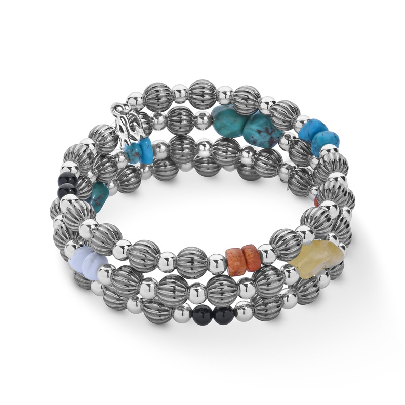 Sterling Silver Multicolor Beaded Coil Bracelet