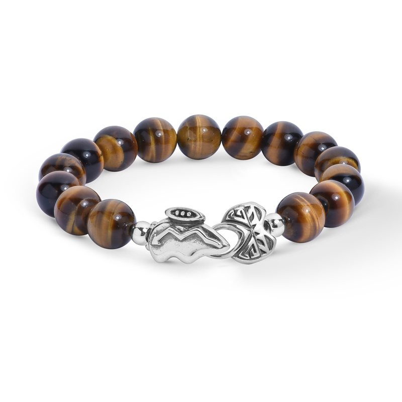 Sterling Silver Tiger's Eye Gemstone Bead and Silver Bear Clasp Bracelet Size S, A, L, XL or XXL