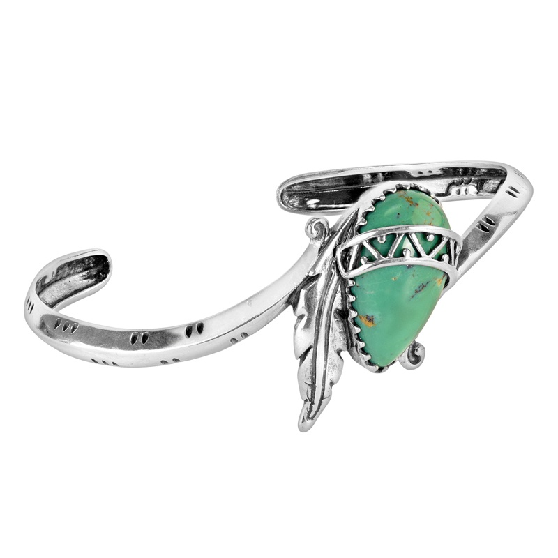Sterling Silver Green Turquoise Gemstone Feather Band Cuff Bracelet Size S, M or L