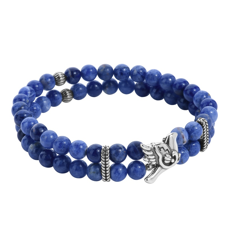 Sterling Silver Blue Sodalite Gemstone Bird and Rope Accent Stretch Bracelet Size S/M or M/L