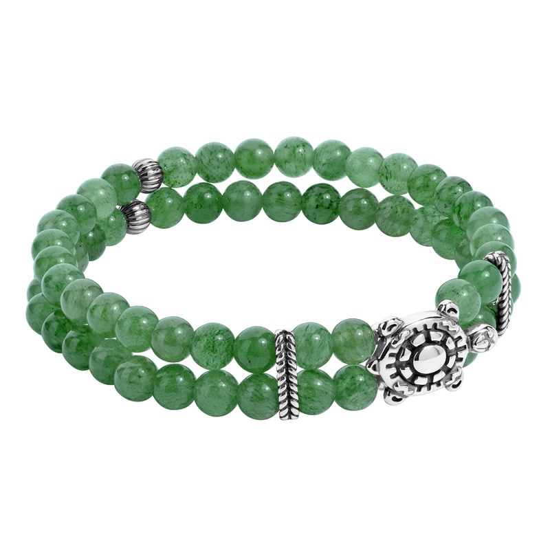 Sterling Silver Green Aventurine Gemstone Beads, Turtle and Rope Accent Stretch Bracelet Size S/M or M/L