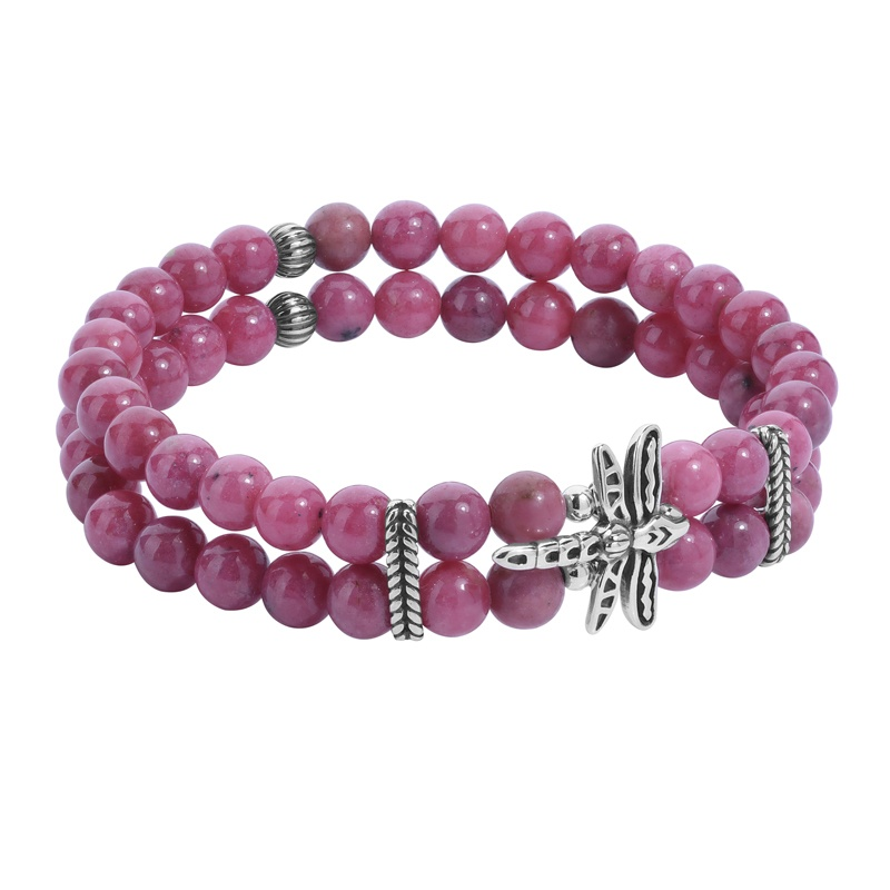 Sterling Silver Pink Rhodonite Gemstone Beads, Dragonfly and Rope Accent Stretch Bracelet Size S/M or M/L
