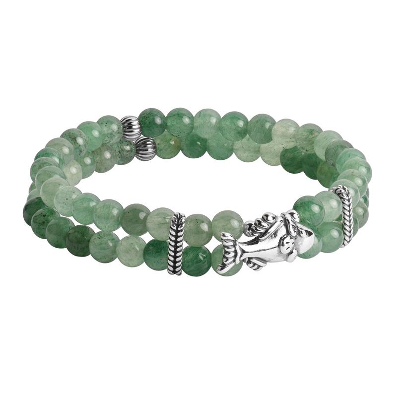 Sterling Silver Green Aventurine Gemstone Fish Stretch Bracelet Size S/M or M/L