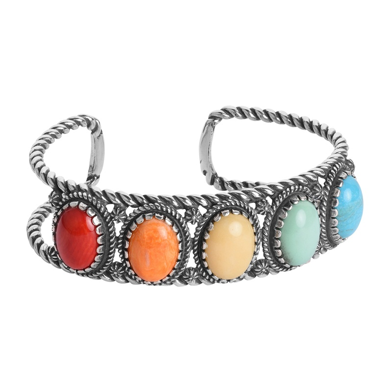 Sterling Silver Multi-Color Gemstone Rope Cuff Bracelet Size S, M or L