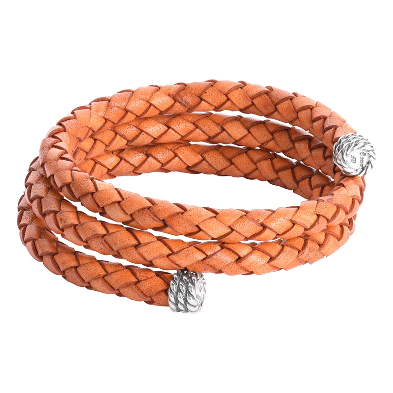 Sterling Silver Fiery Orange Braided Leather Coil Wrap Bracelet One Size Fits Most