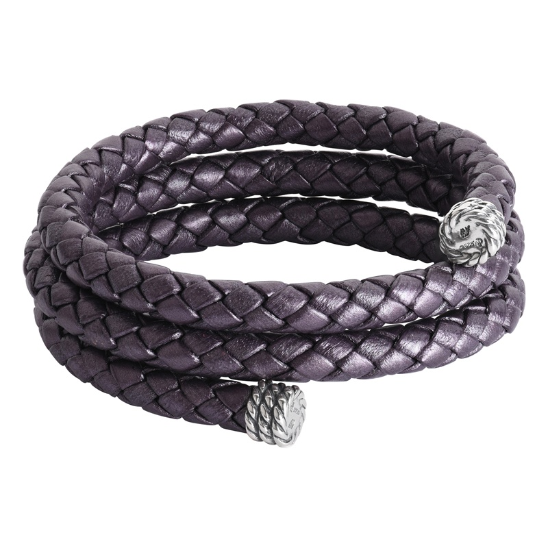 Sterling Silver Aubergine Purple Braided Genuine Leather Coil Wrap Bracelet One Size Fits Most
