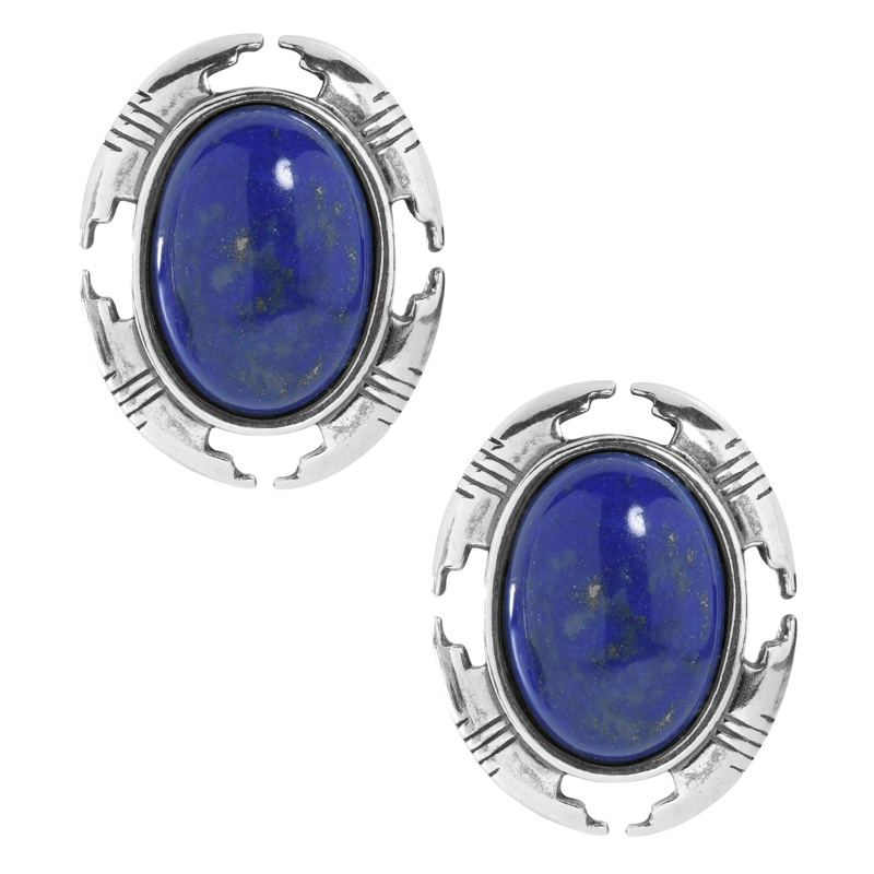 American West Sterling Silver and Lapis Oval Earrings