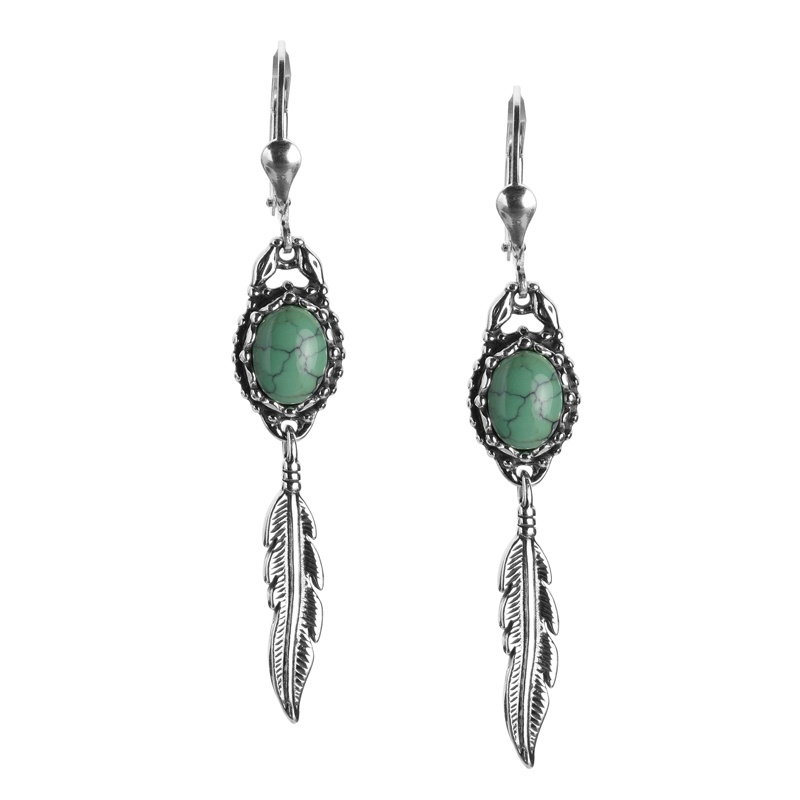 Sterling Silver Green Turquoise Gemstone Feather Dangle Earring