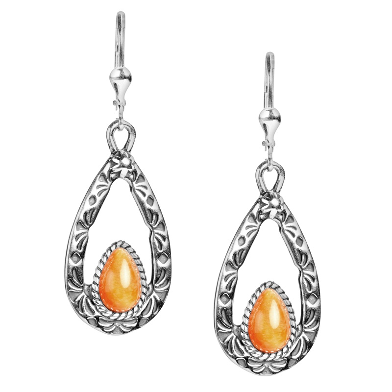 Sterling Silver Orange Spiny Oyster Shell Gemstone Teardrop Dangle Earrings