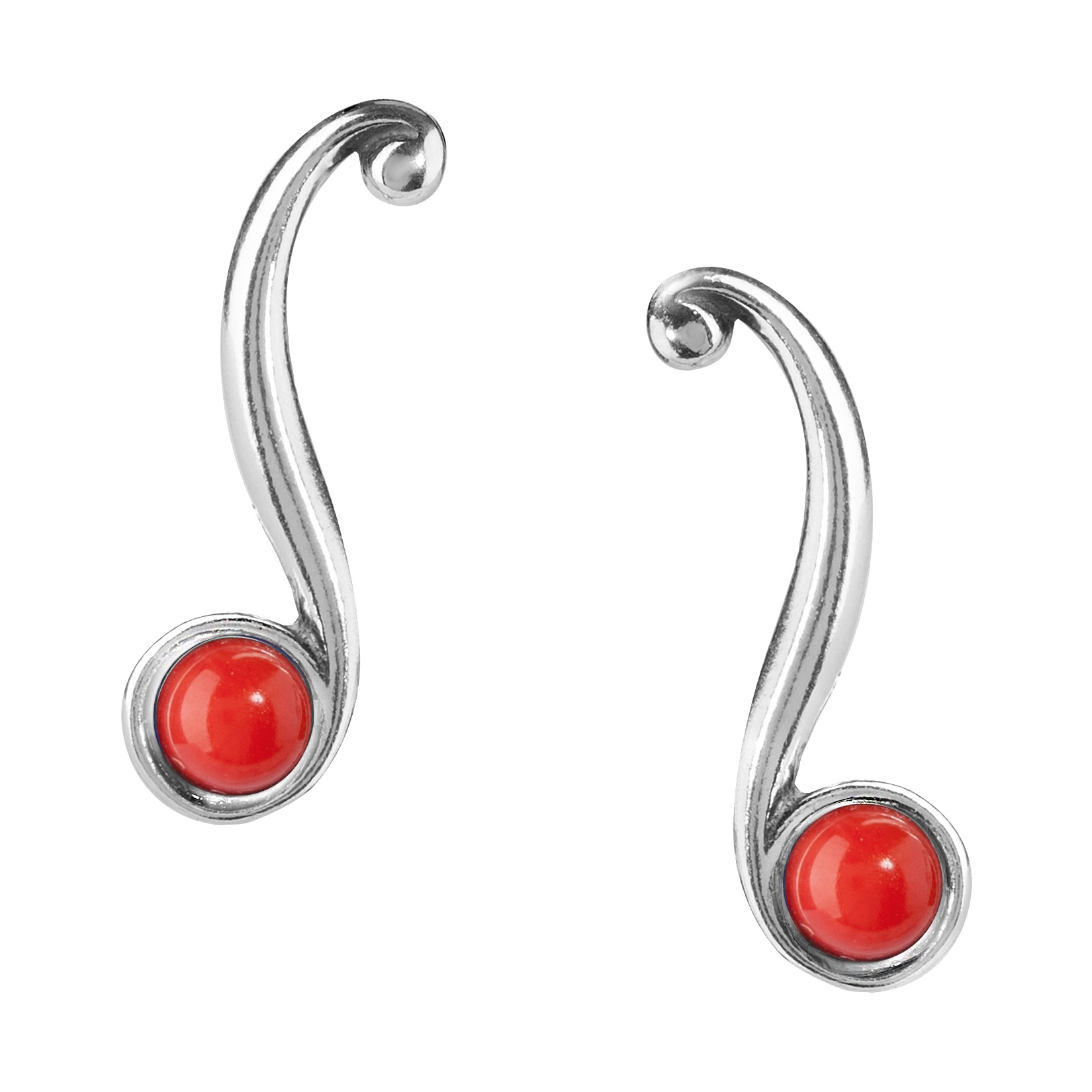 Sterling Silver and Red Coral Ear Climber