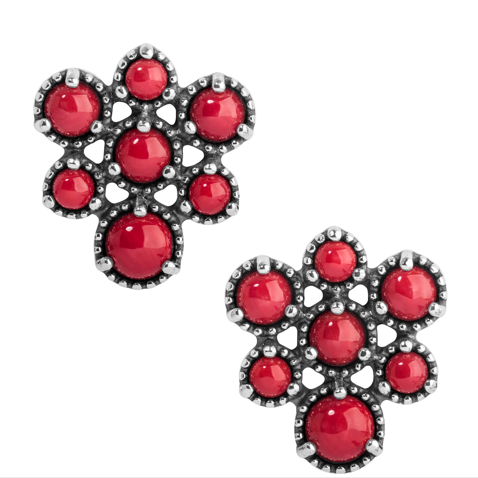 Sterling Silver Red Coral Cluster Earrings