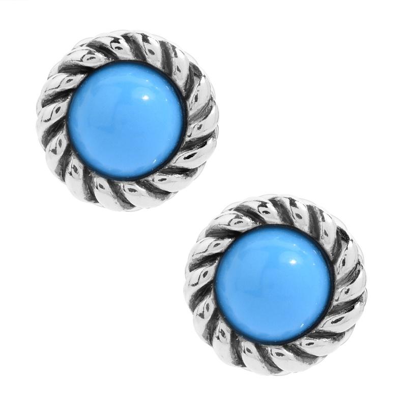 Sterling Silver Sleeping Beauty Turquoise Gemstone Stud Earrings
