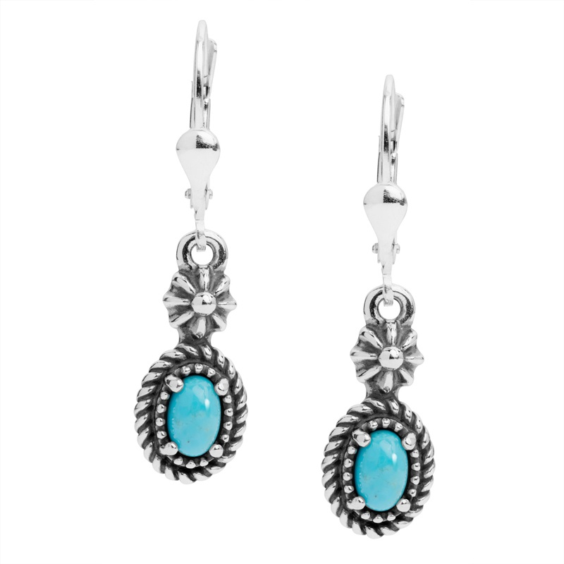 Sterling Silver Blue Turquoise Gemstone Dangle Earrings