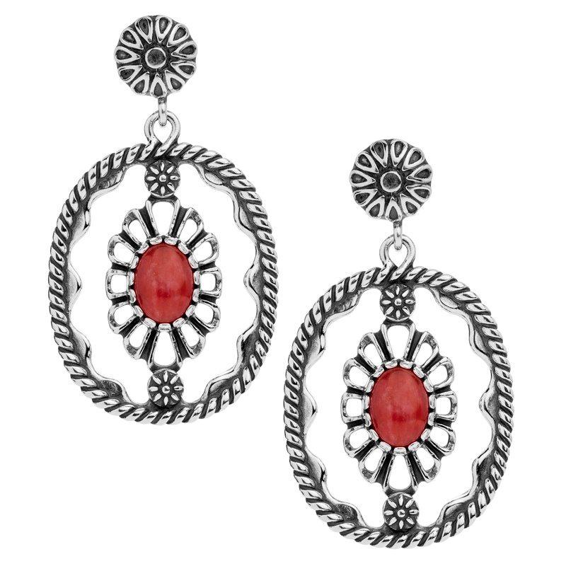 Classics Sterling Red Coral Concha Dangle Earrings